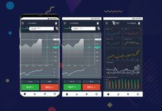 Intercambio comercial app en las pantallas del teléfono ilustración del vector