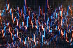 Intercambio de dinero en circulación Datos que analizan en mercado de las divisas: las cartas y las citas en la exhibición Invers Imagen de archivo