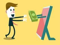 Intercambio de dinero en Internet. Fotos de archivo libres de regalías