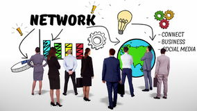Intercambio de ideas de observación de la red del equipo del negocio ilustración del vector