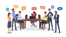 Intercambio de ideas del equipo, ejemplo plano de la generación de la idea stock de ilustración