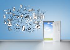 Intercambio de ideas en la pared azul libre illustration