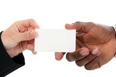 Intercambio de la tarjeta de visita imagen de archivo libre de regalías