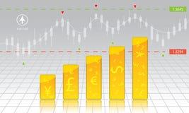 intercambio de moneda, carta, divisa, acción, dinero Imagen de archivo libre de regalías