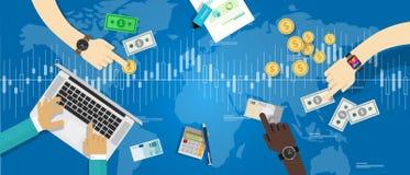 Intercambio de moneda comercial de las divisas del mercado de acciones libre illustration