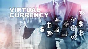 Intercambio de moneda virtual, concepto de la inversi?n S?mbolos de moneda en una pantalla virtual Fondo financiero de la tecnolo stock de ilustración
