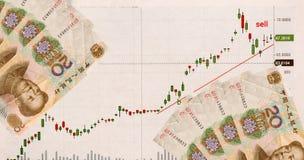 Intercambio del gráfico y de dinero en China Comercio en la bolsa de acción Imagen de archivo