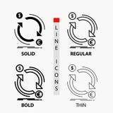 intercambio, moneda, finanzas, dinero, icono del convertido en línea y estilo finos, regulares, intrépidos del Glyph Ilustraci?n  stock de ilustración