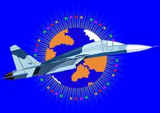 Interceptor. Airforce. Fighter in the abstract background with an image of the Earth surrounded by stars Royalty Free Stock Photography