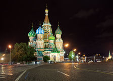 Intercession Cathedral  in night. Moscow, Russia Royalty Free Stock Image