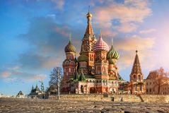 The Intercession Cathedral on Red Square Moscow. In the red light of the morning sun Stock Photo