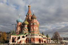 Intercession Cathedral St. Basil's on Red square with cloud sky, Royalty Free Stock Photos