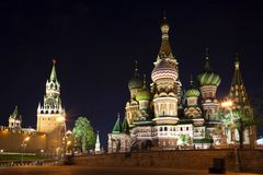 Intercession Cathedral St. Basil's and Spasskaya tower at night. Royalty Free Stock Images
