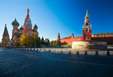 Intercession Cathedral St. Basil`s and the Spassky Tower of Moscow Kremlin Royalty Free Stock Image