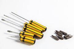 Interchangable在螺丝刀的螺丝技巧 免版税库存图片