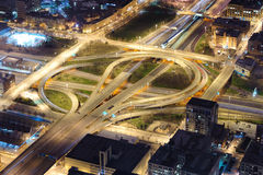 Interchange. One of Chicago downtown interchange at night. View from Willis Tower Royalty Free Stock Image