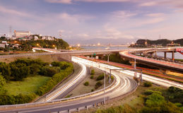Interchange with cars light Royalty Free Stock Images