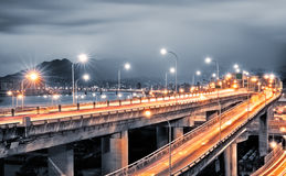 Interchange with cars light Stock Photo
