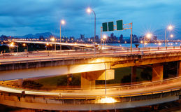 Interchange with cars light Stock Photography