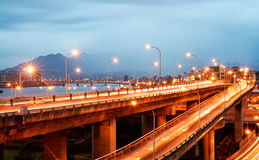 Interchange with cars light Stock Image