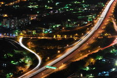 Interchange at night. A interchange at night with the orbits of car-light Royalty Free Stock Images