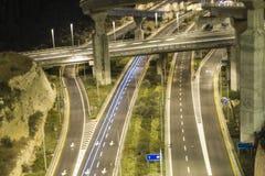 An interchange by night. In haifa, israel Royalty Free Stock Image