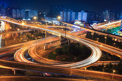 Interchange at night. Interchange in shanghai at night,clover stack type overpass Royalty Free Stock Photography