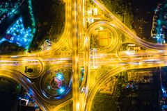 Interchange night traffic cross road aerial view stock image