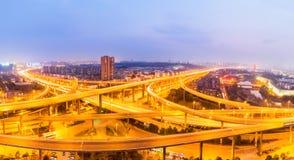 Interchange overpass bridge at night. Interchange overpass bridge panorama in nanjing at night Royalty Free Stock Images