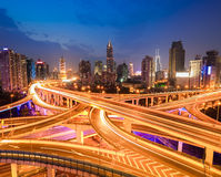 Interchange overpass at night. Complicated city interchange overpass at night in modern shanghai Royalty Free Stock Photography
