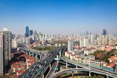 Interchange overpass on traffic rush hour Royalty Free Stock Image