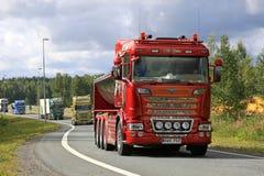 Interchangeable Scania R560 Truck The Stallion in Convoy. LEMPAALA, FINLAND - AUGUST 11, 2016: Interchangeable Scania R560 truck year 2014 The Stallion of T Stock Photo