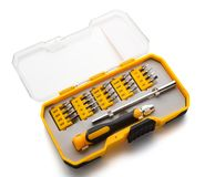 Interchangeable screwdriver set with different types of metal steel heads & bits with clipping path. Interchangeable screwdriver set with different types of Royalty Free Stock Images