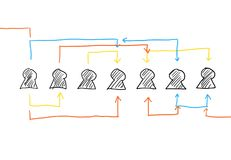 Interchanging Figures. Drawing of figures which are related together and interchanging with each other, shown by arrows in different colors, done by hand using Royalty Free Stock Photography