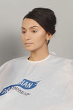 Intercharm秋天莫斯科XXI国际香料厂和年轻化妆用品的陈列,美好的深色的妇女构成 免版税库存图片