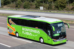 Intercity bus Flixbus on the highway Stock Image