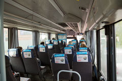 Intercity bus on the route Balashikha - Moscow. Russia. Interior of the typical intercity bus in Moscow Royalty Free Stock Images