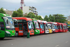Intercity buses at the bus station of the city of Vungtau Royalty Free Stock Photography