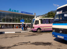 Intercity buses at the bus station of Yalta Royalty Free Stock Photos