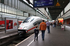 Intercity Express. STUTTGART, GERMANY - JULY 24: Intercity Express (ICE) train of Deutsche Bahn on July 24, 2010 in Stuttgart, Germany. DB is a profitable Stock Photos