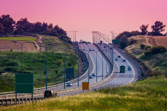 Intercity highway at evening. Royalty Free Stock Photo