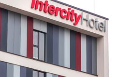 Intercity hotel sign in duisburg germany stock photos