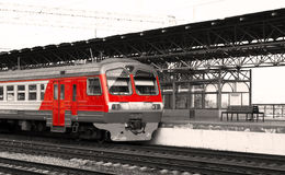 Intercity train. With red stripes Royalty Free Stock Photo