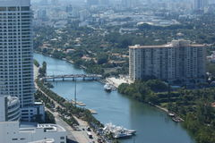 Intercoastal miami beach. Intercoastal waterway in miami beach showing bridge and highrise buiildings Royalty Free Stock Photo