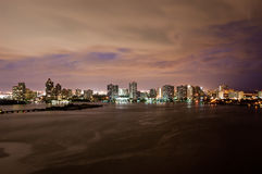 Intercoastal at night. Night view on Aventura from Sunny Isles Beach over Intercoastal Waterway, Florida Stock Images