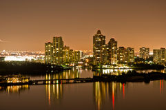 Intercoastal at night. Night view on Aventura from Sunny Isles Beach over Intercoastal Waterway Royalty Free Stock Images