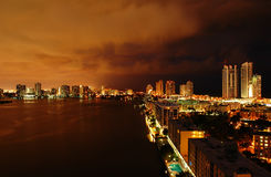 Intercoastal at night. Night view on Aventura from Sunny Isles Beach over Intercoastal Waterway Stock Photo