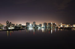 Intercoastal at night. Night view on Aventura from Sunny Isles Beach over Intercoastal Waterway Stock Photography