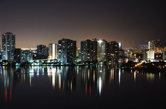Intercoastal at night. Night view on Aventura from Sunny Isles Beach over Intercoastal Waterway Royalty Free Stock Photography