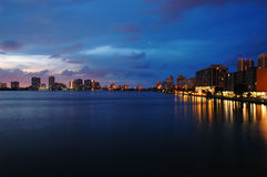 Intercoastal at night. Night view on Aventura from Sunny Isles Beach over Intercoastal Waterway Royalty Free Stock Photos